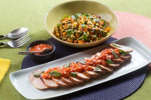 Roasted Pork & Summer Succotash with Tomato Fondue & Basil