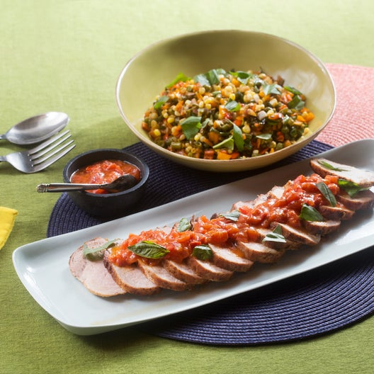 Roasted Pork & Summer Succotash with Tomato Fondue & Basil