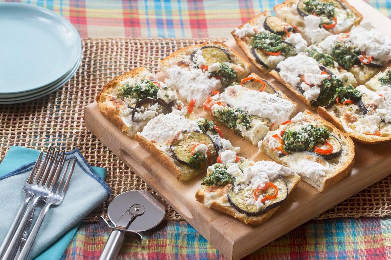 Eggplant & Summer Pepper Focaccia Pizza with Arugula-Parsley Pesto & Lemon Ricotta