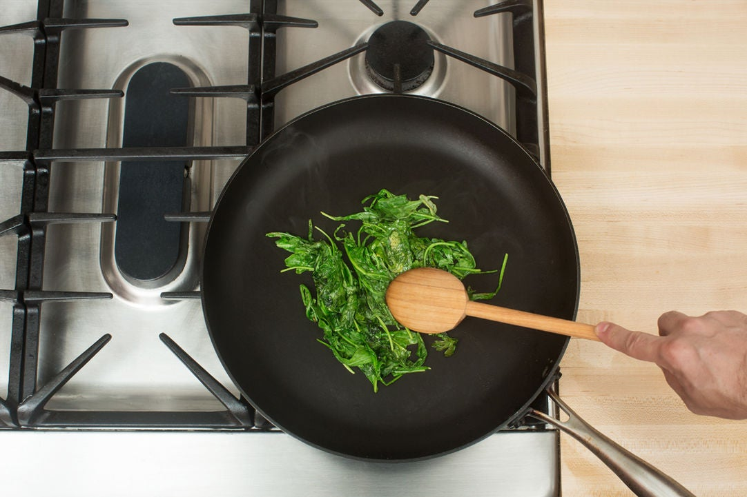 Cook the arugula & parsley: