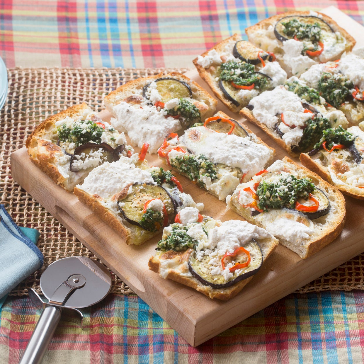 Eggplant & Summer Pepper Focaccia Pizza with Arugula-Parsley Pesto & Lemon Ricotta