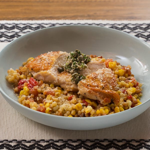 Seared Chicken & Fregola Sarda with Salsa Verde, Corn & Tomato
