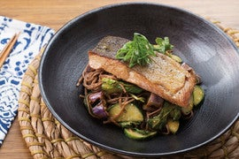 Seared Salmon & Miso Soba Noodle Salad with Fairy Tale Eggplant & Baby Greens