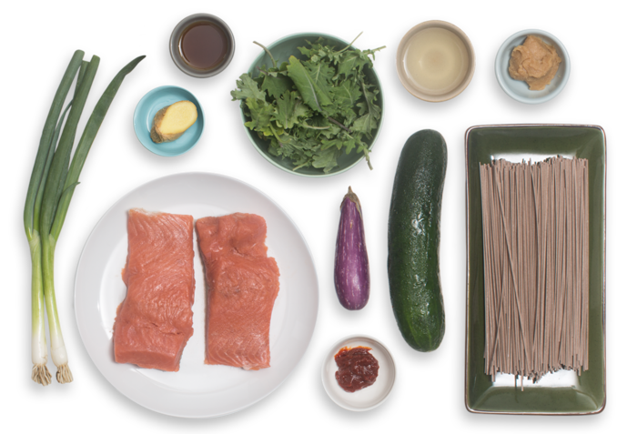 Seared Salmon & Miso Soba Noodle Salad with Fairy Tale Eggplant & Baby Greens ingredients