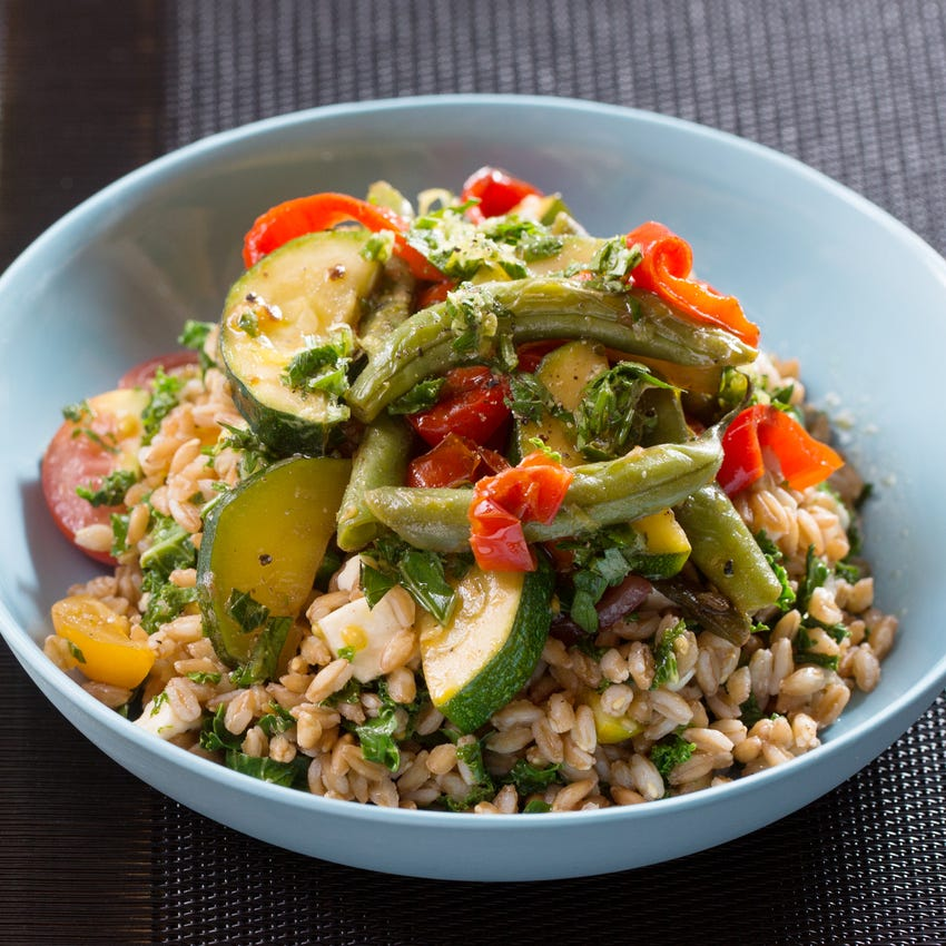 Neapolitan-Style Stewed Vegetables & Farro with Summer Beans, Sweet Pepper & Gremolata
