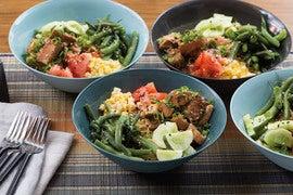Chicken Hiyashi Chuka with Cucumber, Summer Beans & Corn