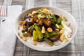 Eggplant, Shishito & Summer Bean Stir-Fry with Jasmine Rice & Ginger-Lime Cashews