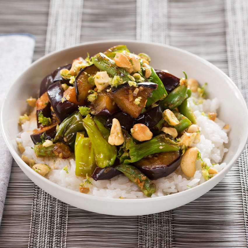 Eggplant, Shishito & Summer Bean Stir-Fry with Jasmine Rice & Ginger-Lime Cashews