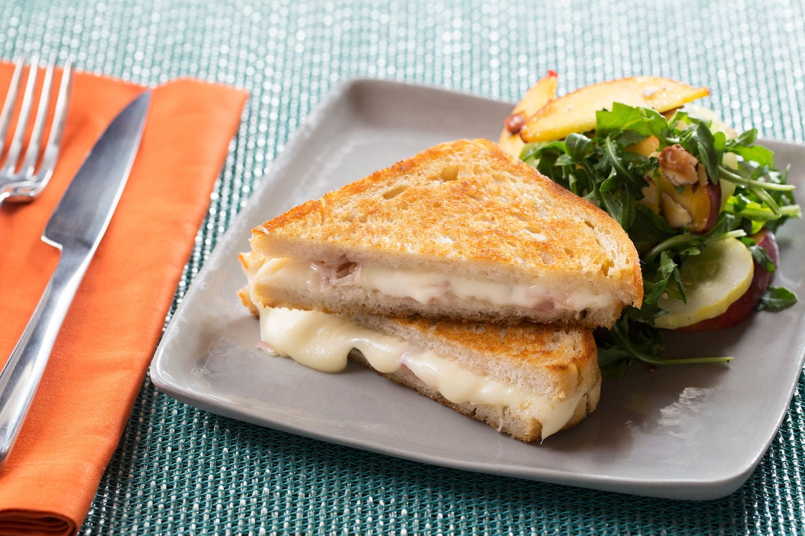 Grilled Fontina Cheese & Mint Sandwiches with Peach, Almond & Arugula Salad