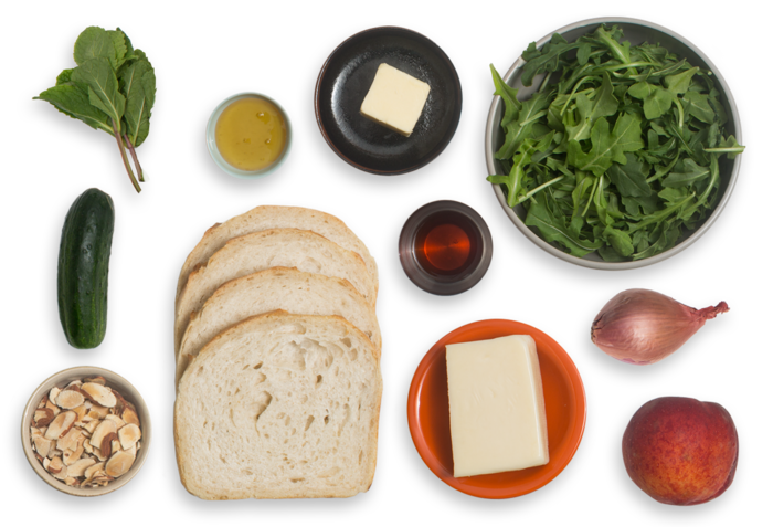 Grilled Fontina Cheese & Mint Sandwiches with Peach, Almond & Arugula Salad ingredients