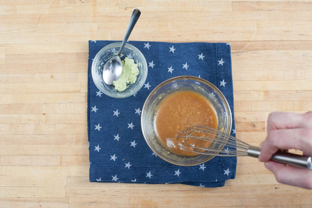 Make the wasabi & the miso vinaigrette: