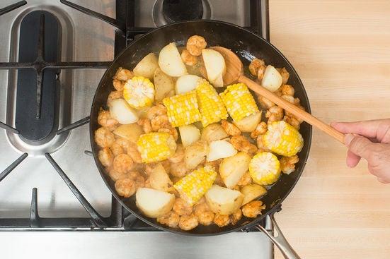 Finish the vegetables & shrimp: