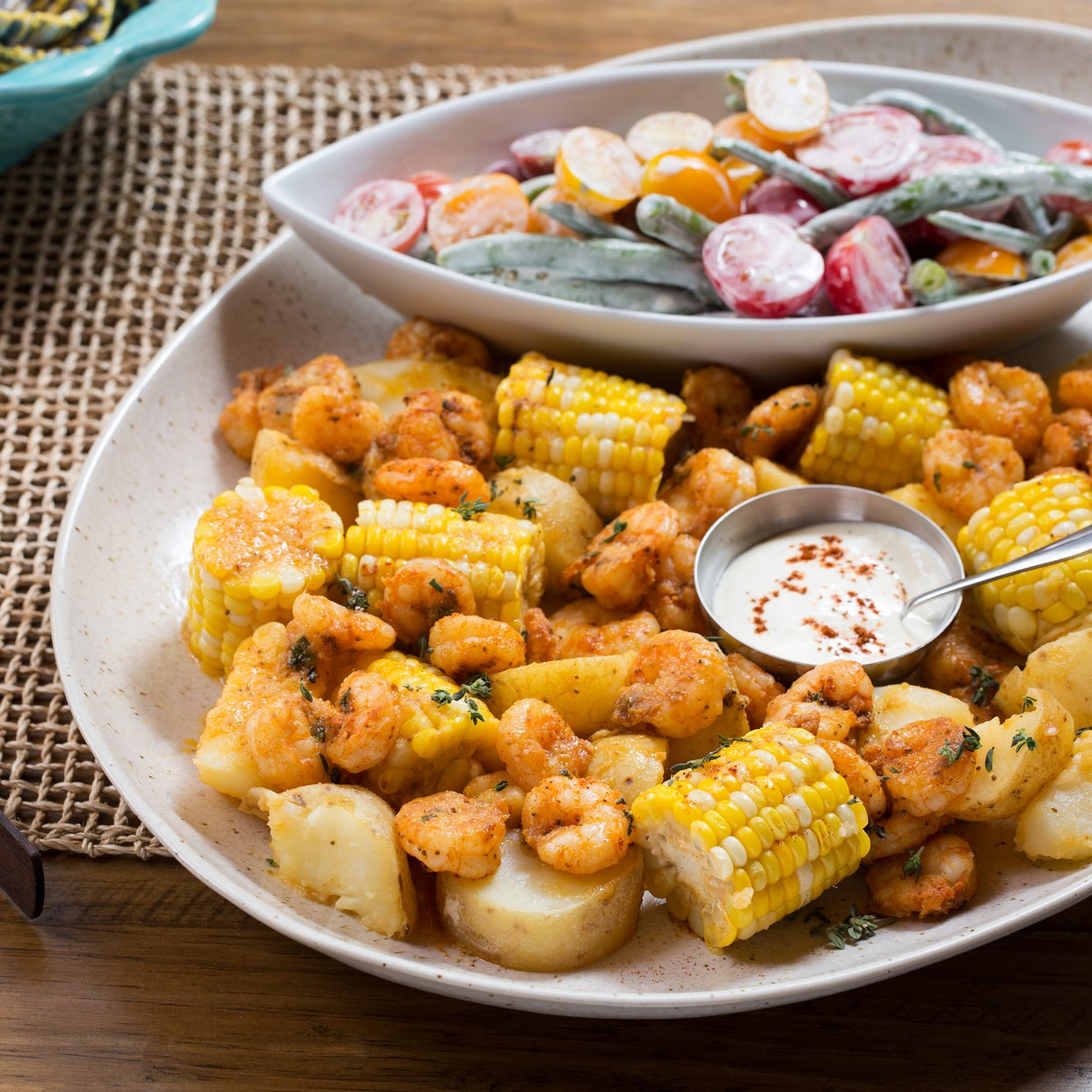 "Shrimp, Potato & Corn ""Boil"" with Creamy Summer Bean & Cherry Tomato Salad"