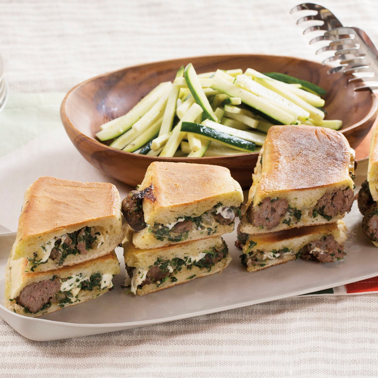 Pesto Meatball & Mozzarella Paninis with Zucchini Slaw