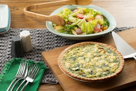 Summer Vegetable Quiche with Radish, Cherry Tomato & Romaine Salad