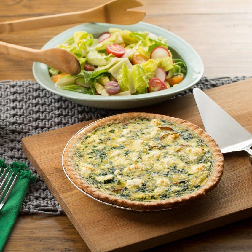 Summer Vegetable Quiche with Radish, Cherry Tomato & Romaine Salad