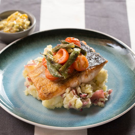 Seared Salmon & Sauce Gribiche with Mashed Potatoes, Summer Beans & Cherry Tomatoes