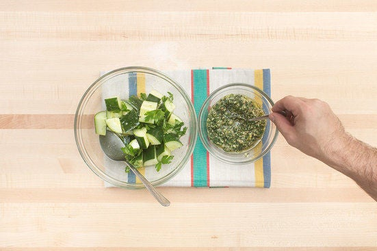 Make the salad & pesto: