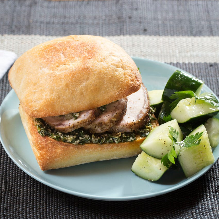 Porchetta-Style Sandwiches with Baby Kale Pesto & Marinated Cucumber Salad