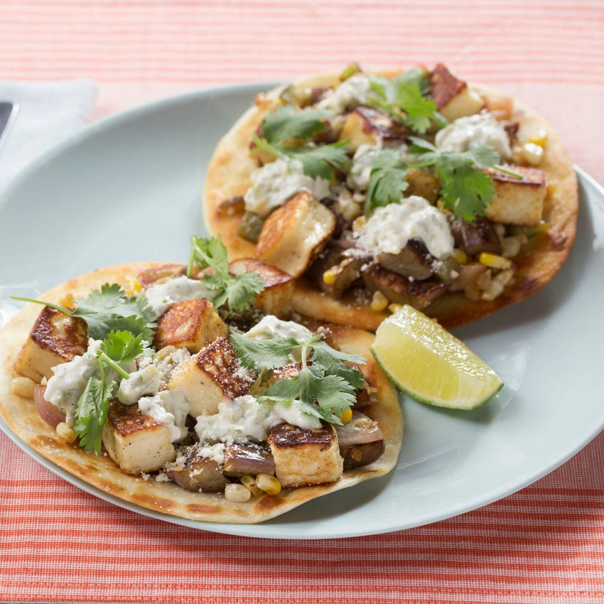 Summer Vegetable & Queso Tostadas with Fairy Tale Eggplants & Spicy Crema
