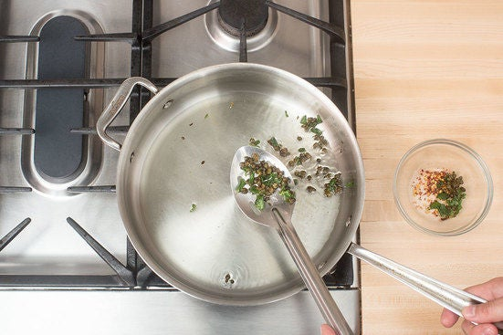 Fry the capers & oregano: