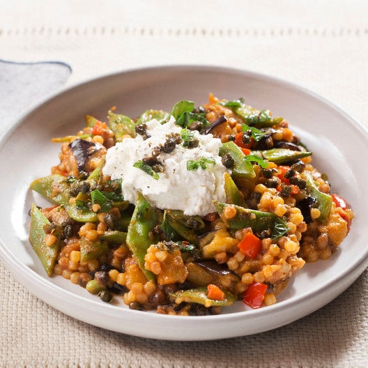 Late-Summer Fregola Sarda Pasta with Romano Beans, Ricotta & Crispy Capers
