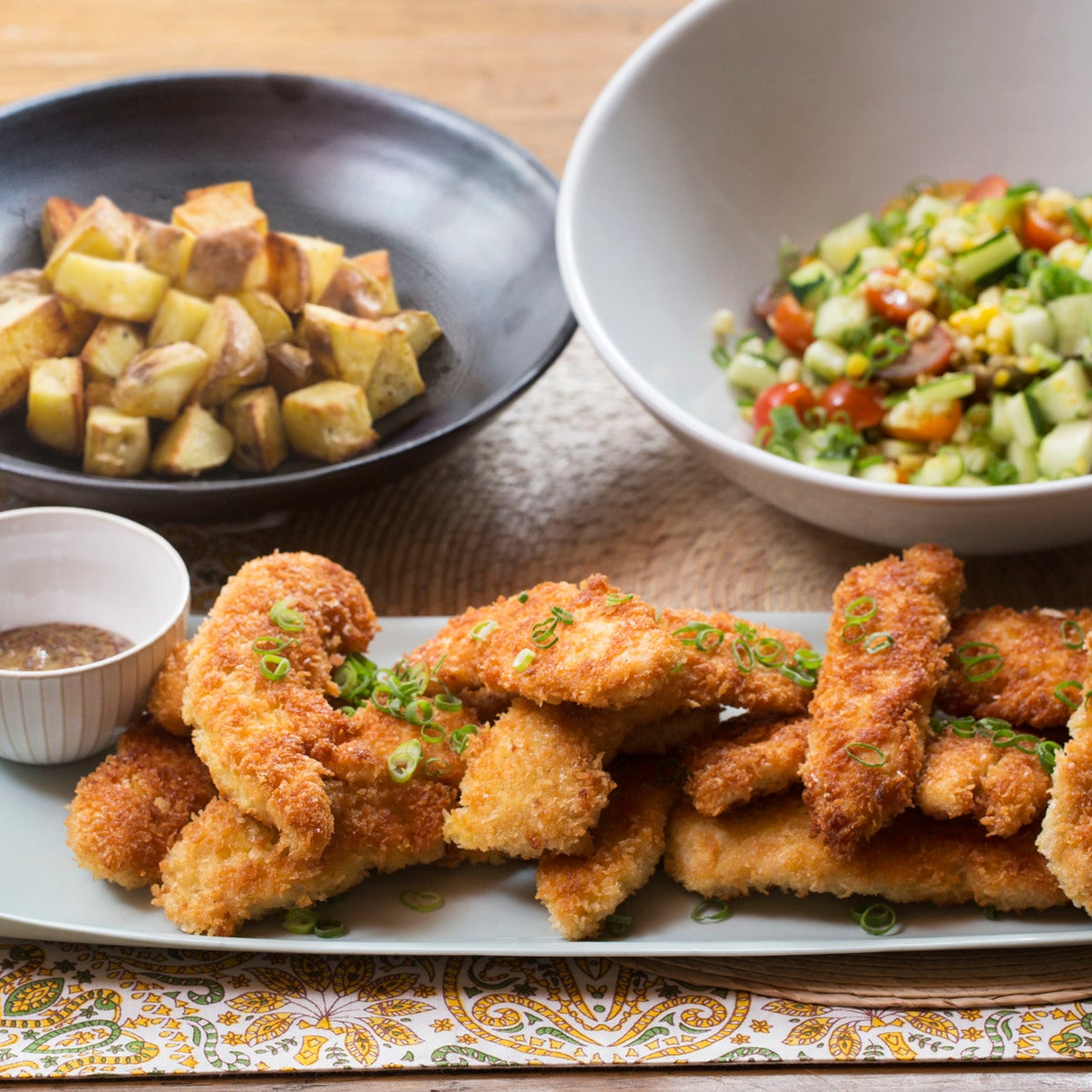 Crispy Chicken Tenders & Roasted Potatoes with Summer Vegetable Salad & Honey Mustard