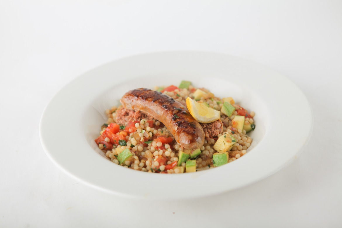 Lamb Sausage with Late Summer Moroccan Couscous