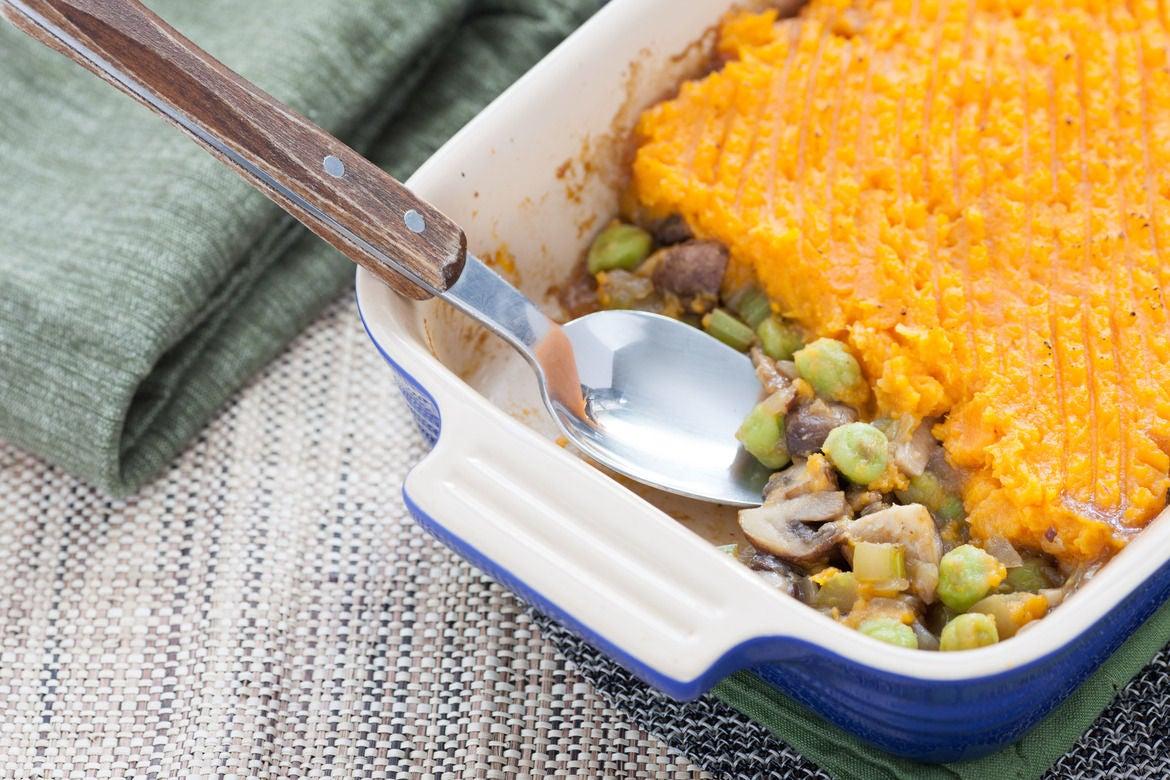 Mushroom & Sweet Potato Shepherd's Pie with Fresh Green Garbanzo Beans