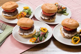 Lamb & Beef Feta Burgers with Romano Bean, Eggplant & Summer Pepper Salad