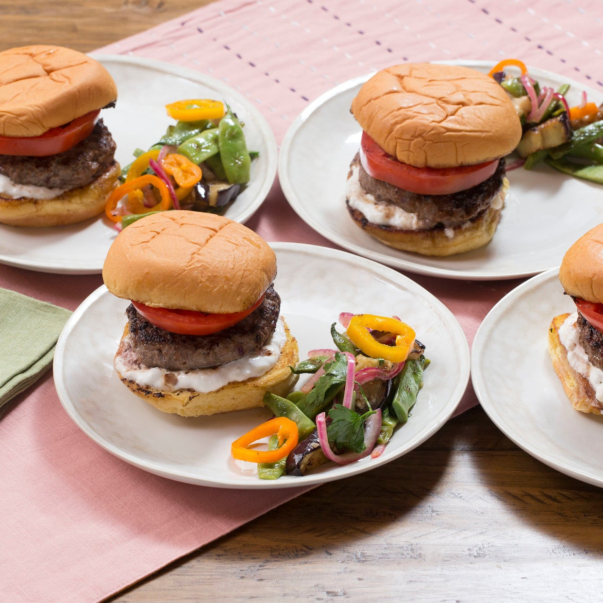 Lamb & Beef Feta Burgers with Romano Bean, Eggplant & Summer Pepper Salad