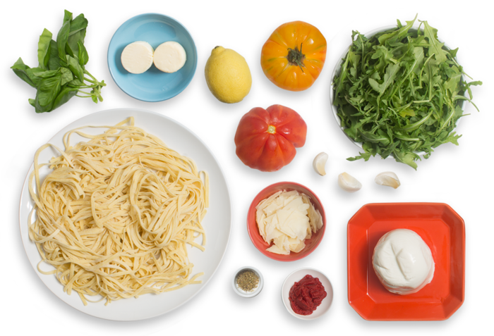 Fresh Linguine Pasta & Heirloom Tomato Sauce with Arugula & Marinated Mozzarella Salad