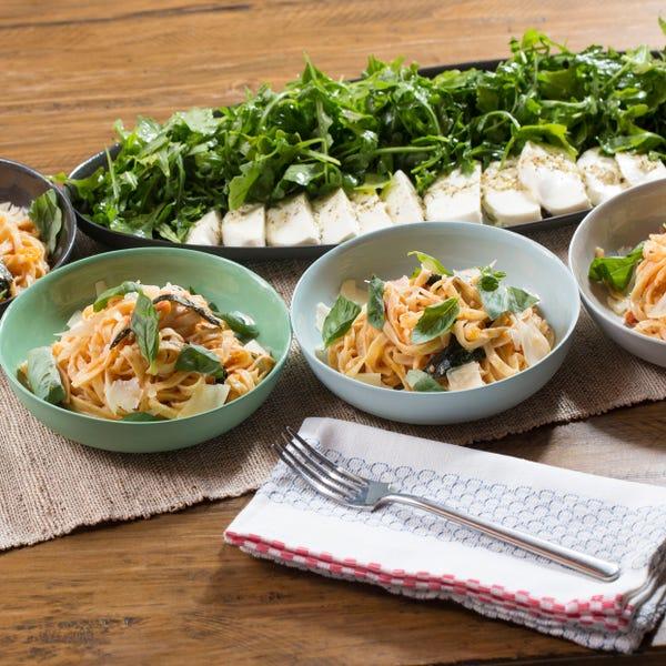 Fresh Linguine Pasta & Heirloom Tomato Sauce with Arugula & Marinated Mozzarella Salad