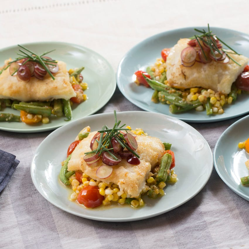 Pan-Seared Cod & Pickled Grapes with Summer Bean Succotash
