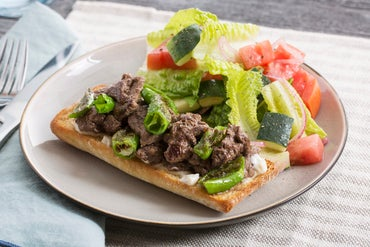 Beef & Shishito Open-Faced Sandwiches with Tomato, Cucumber & Romaine Salad