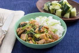 Spicy Hoisin Chicken Stir-Fry with Baby Bok Choy & Sesame-Ginger Cucumber Salad