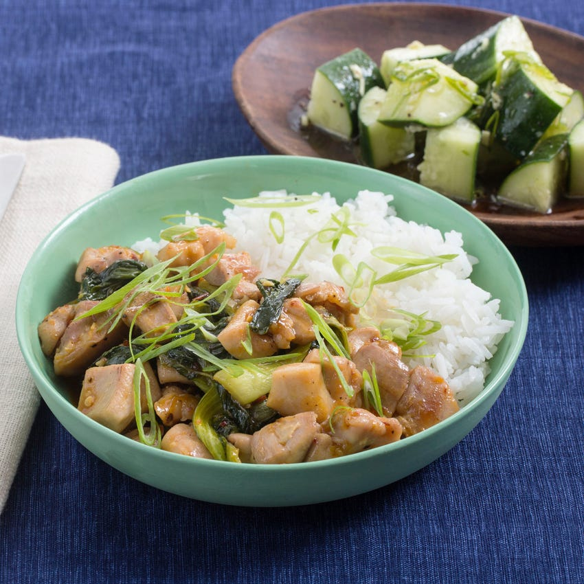 Spicy Hoisin Chicken Stir-Fry with Baby Bok Choy & Sesame-Ginger Cucumber Salad