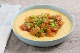 Paprika Shrimp & Cheddar Grits with Tomato & Sweet Corn
