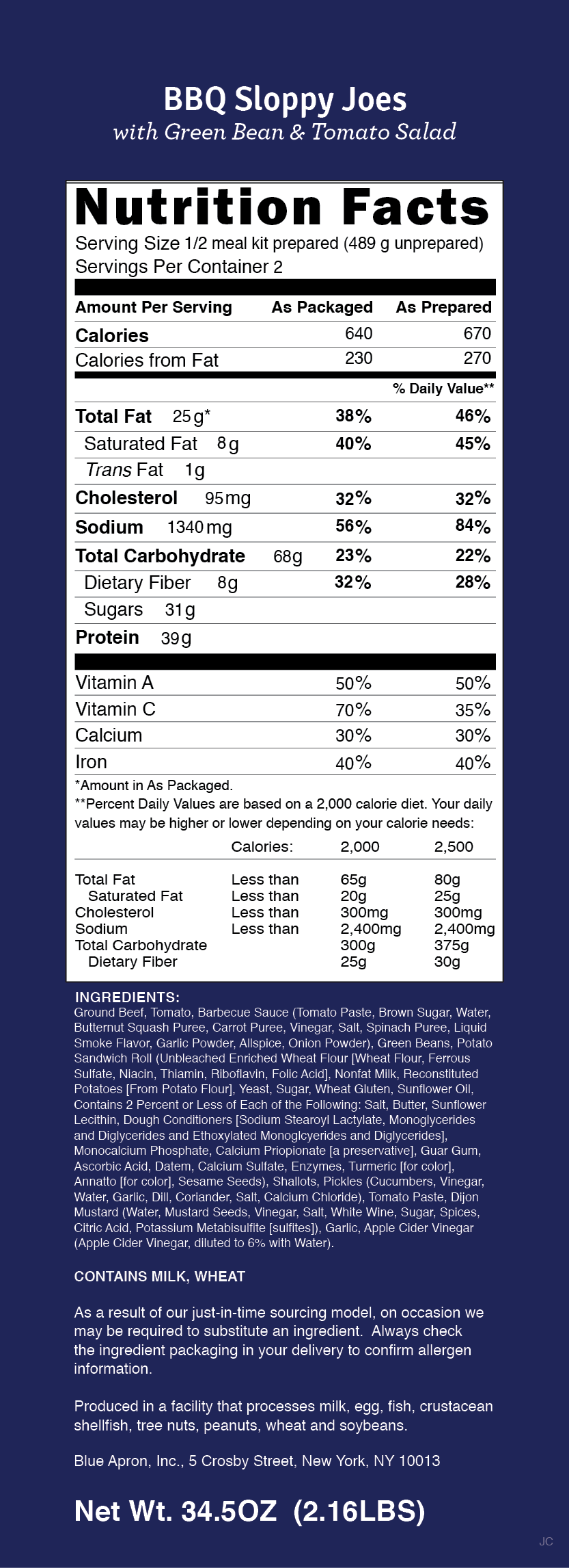 Blue apron quality auditor - Nutrition Label
