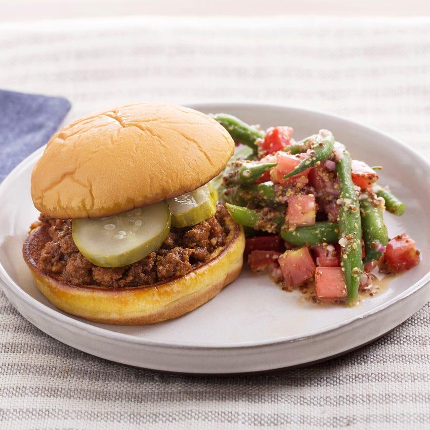 BBQ Sloppy Joes with Green Bean & Tomato Salad