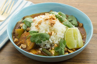 Spicy Eggplant & Green Bean Curry with Garlic Rice & Gingered Peanuts