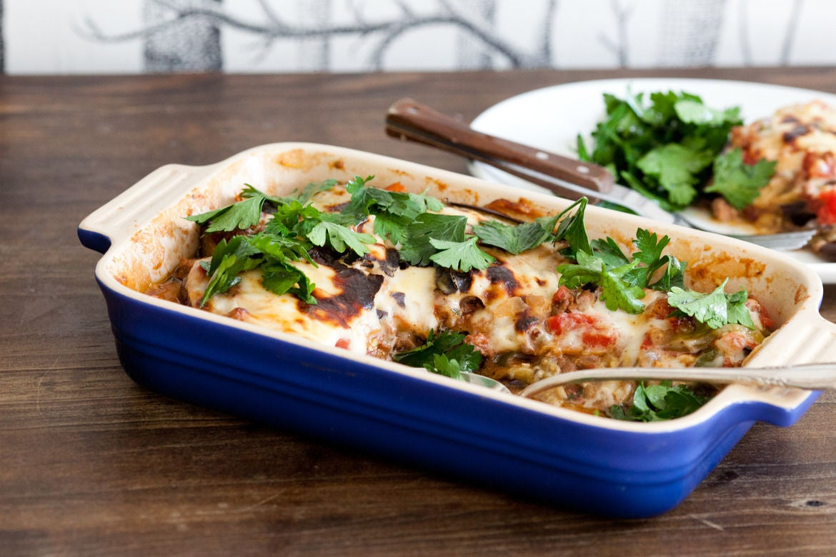 Moussaka with Lemony Parsley Salad
