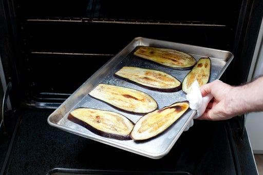 Roast the eggplant slices: