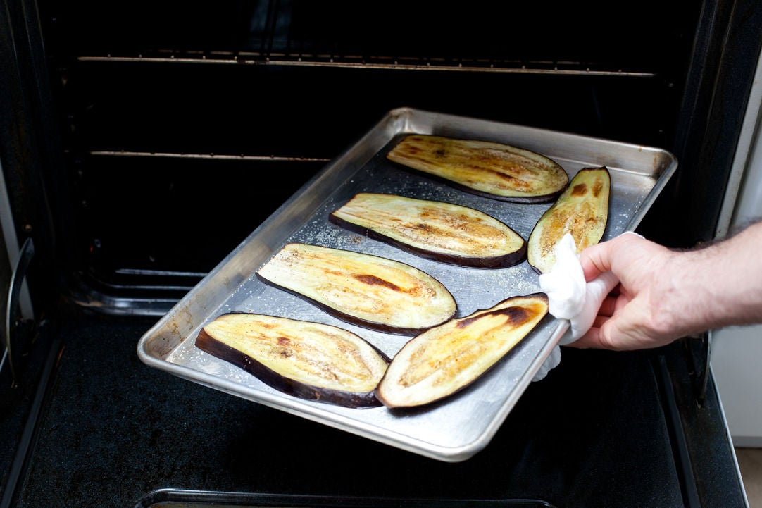 Roast the eggplant slices: