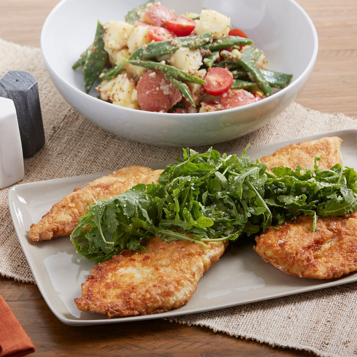 Recipe Pan Fried Francese Style Chicken With Arugula Green Bean