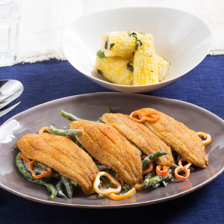 Crispy Cajun Catfish with Summer Vegetable Salad & Corn on the Cob