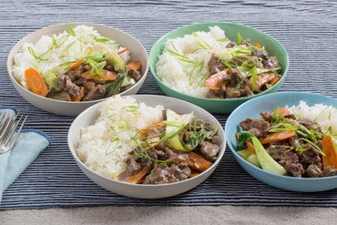 Hoisin Beef & Vegetable Stir-Fry with Fairy Tale Eggplants & Garlic-Ginger Rice