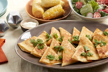 Monterey Jack & Spiced Pepper Quesadillas with Corn on the Cob & Tomato-Radish Salad