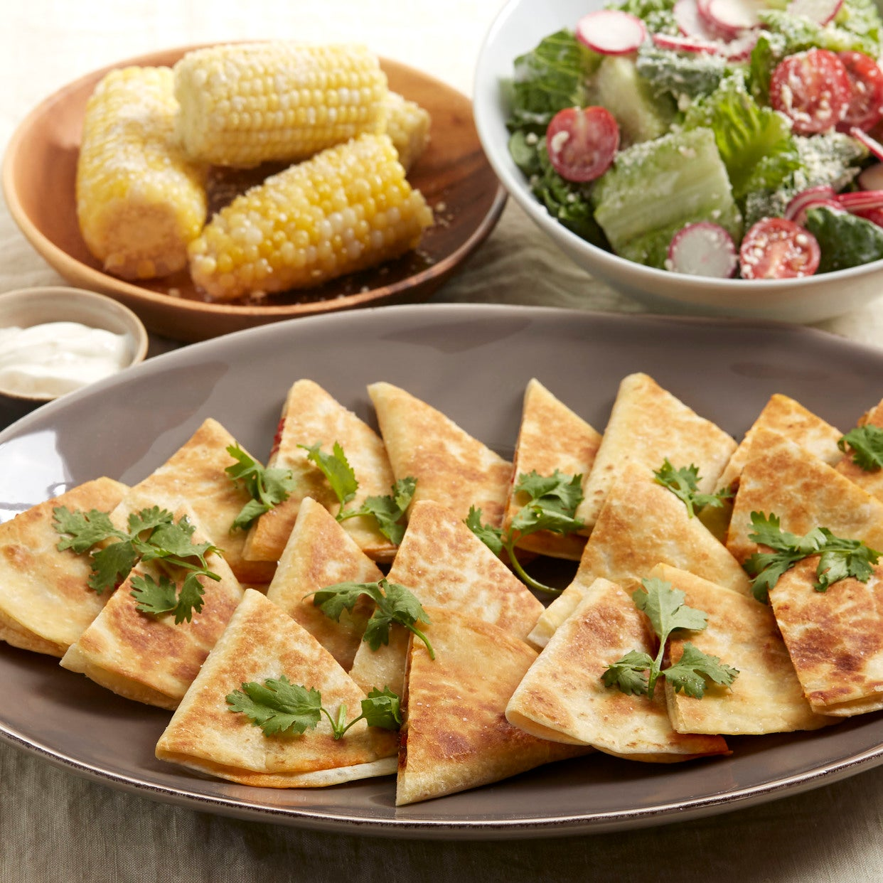Monterey Jack & Spiced Pepper Quesadillas with Corn on the Cob & Tomato-Romaine Salad