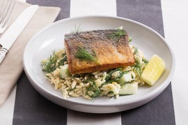 Crispy Salmon with Orzo, Green Bean & Cucumber Salad